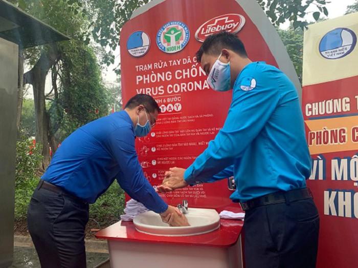 Hà Nội: Khai trương trạm rửa tay dã chiến phòng dịch Covid-19