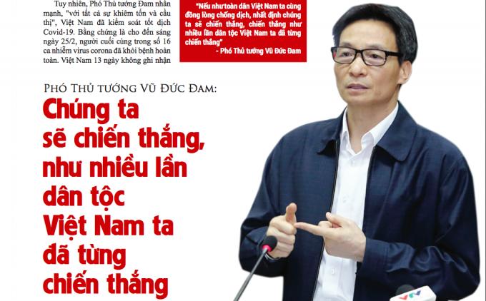 Phó Thủ tướng Vũ Đức Đam: Chúng ta sẽ chiến thắng, như nhiều lần dân tộc Việt Nam ta đã từng chiến thắng