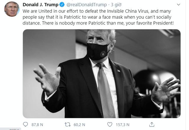 Ông Trump bất ngờ nói đeo khẩu trang là