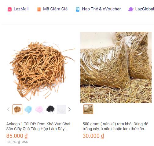 Rơm khô, vỏ trấu tưởng chừng bỏ đi nhưng lại đắt đỏ trên chợ online