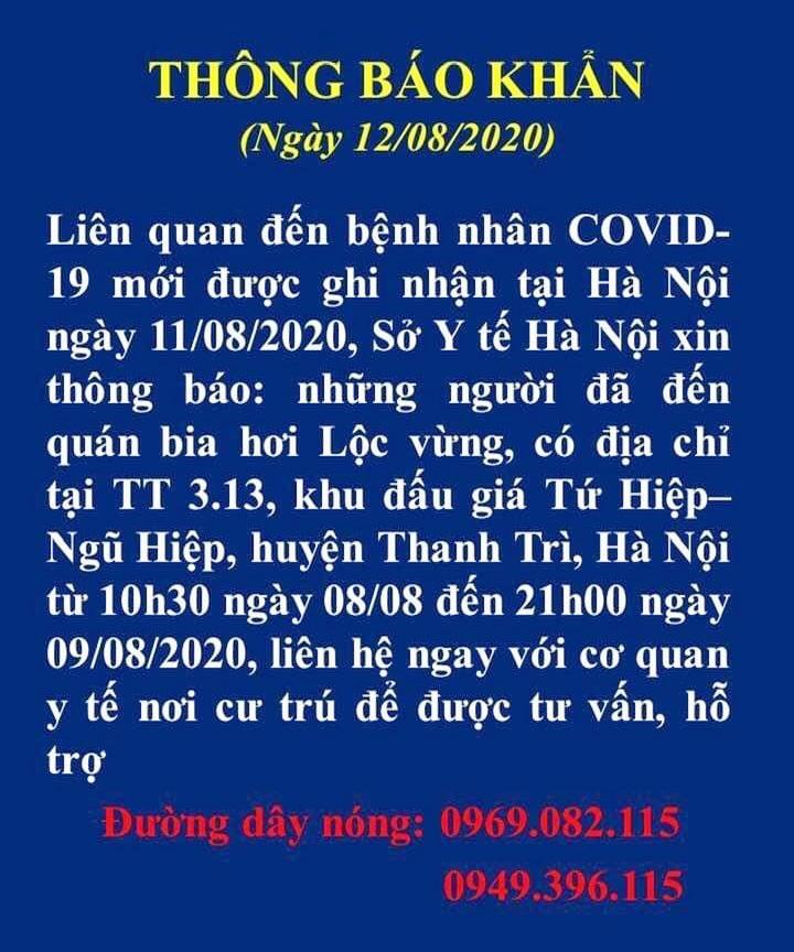 Hà Nội tìm người liên quan đến bệnh nhân Covid-19 tại quán bia Lộc Vừng, Thanh Trì